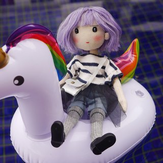 Handmade Doll- Little Girl with Purple Bob Hair
