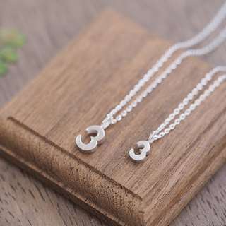 2 set) Number 3 Pair Necklace Silver 925