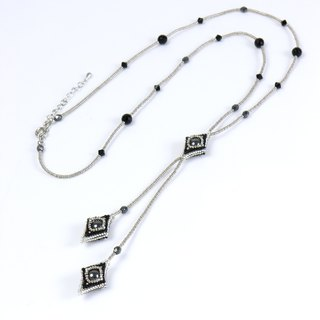 Black silver long Y necklace, beaded square lariat, rhombic fringe, 0802L