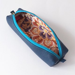 "Leather pen case with Japanese Traditional pattern, Kimono ""Obi"""