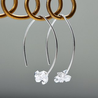 silver 925 - Herkimer diamond mini merquise pierced earrings (sterling silver)
