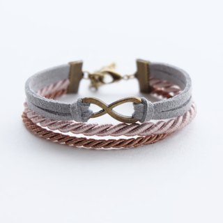 Brass infinity in Gray suede Light brown Cinnamon rope