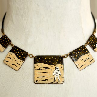 Jewelry, Necklace, Astronaut, Moon, Men in the Moon, Panorama Landscape, Moon Jewelry, Enamel Necklace, Statement Necklace, Boho Necklace, Moon Enamel, Boho Enamel Necklace