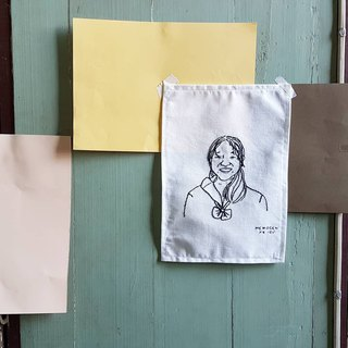 Custom hand embroidered portraits drawing on baby canvas cotton