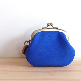 Nubuck leather coin case blue