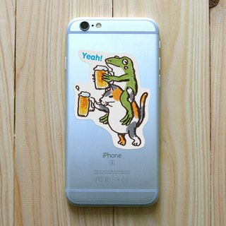 Sticker cat and frog toast