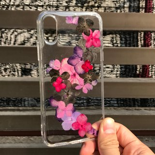 iPhone X 手机壳 Dry Pressed Flowers Case 押花 干燥花 叶子 紫色压花 021