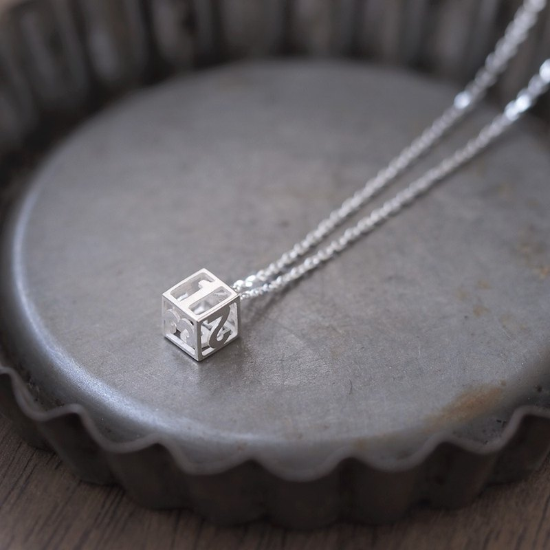 mini dice dice necklace silver 925
