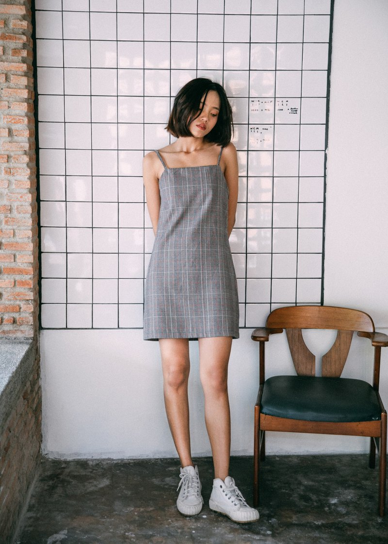 WARM GREY CHECK PLAID CAMI DRESS WITH SPAGHETTI STRAP