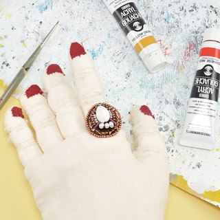 Red and white ring, statement ring,free ring, cocktail ring , art ring, 28