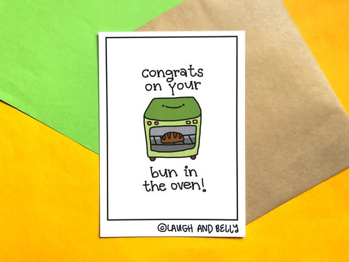 Congrats On Your Bun In The Oven (Punny Funny Postcard Print For Baby Shower)