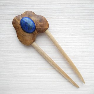 Wooden hair pin with lapis lazuli