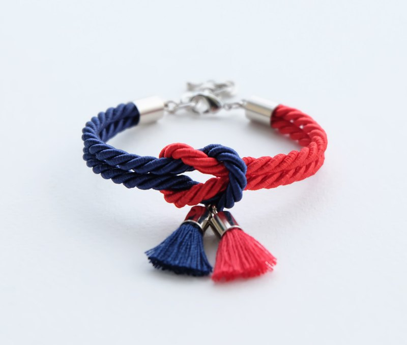 Navy blue / red knot bracelet with tassels