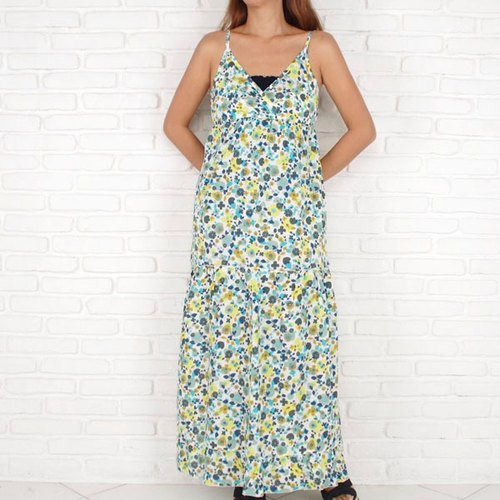 Adult cute! Garden Flower Long dress <Blue Yellow>
