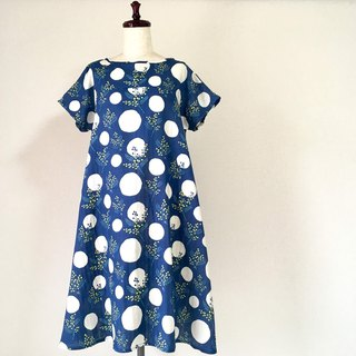 Mimosa Flare One Piece Dress Double Gauze Short Sleeve Navy
