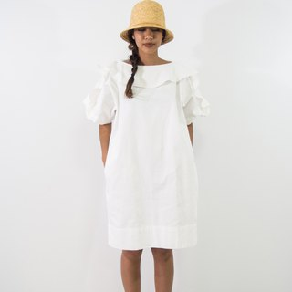 Mani Mina White Frill Tee Mini Dress