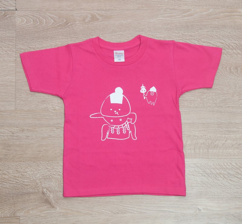 Rice ball T-shirt Dokoko ver. Hot pink _ ink (white)