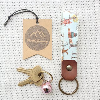 Fabric Leather Key Fob KeyChain,Gift For Her, Happy day ,Friendship ,Best Friend ,Bear Rabbit ,Sky Blue