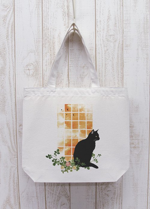 Standing black cat window side SUNSET going out tote (natural) / RPB008