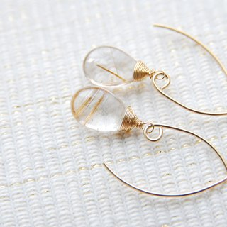 Rutile quartz of Marquis hook earrings (14kgf)