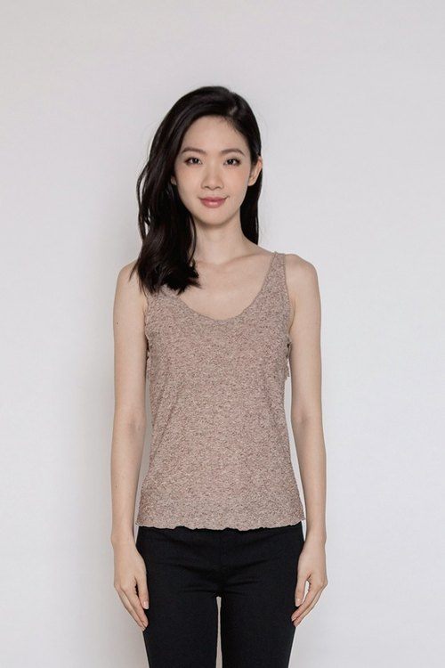沉静冥想U领缇花背心 ( Peaceful Mind U Neck Texture Tank Top ) - 褐色
