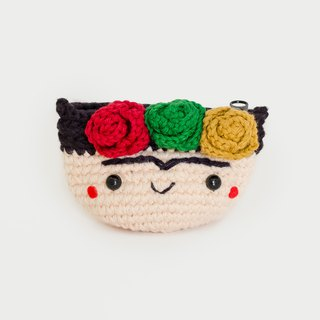 Crochet Coin Purse - Frida Kahlo No.3 | Crochet Coin Case | Small Round Pouch