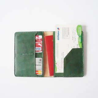 Green Leather Passport Cover/ Sleeve with Credit Card & boarding pass pocket
