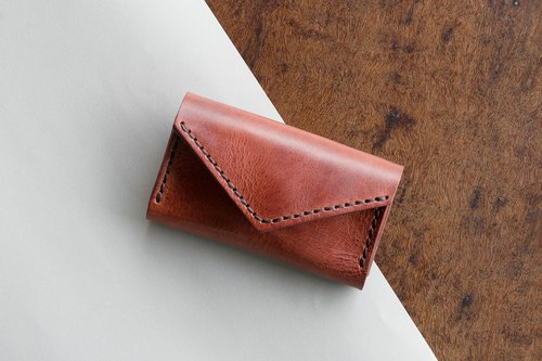 "LIMITED EDITION SMALL LEATHER BAG 'SUNNY CARD HOLDER"" MADE OF VEGETABLE TANNED LEATHER FROM FRANCE- BROWN"