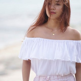 2017 Spring Summer! Off shoulder ruffle tops <White>