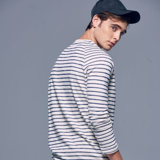 Stone'As Basic Striped long-sleeved Tee In Blue / 蓝色 连袖 长 T-shirt