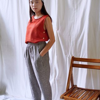 Linen Casual Pants - Gray