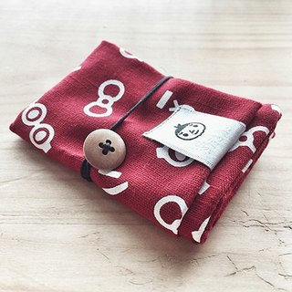 【BestFriend】Eyes, Nose, Lips Cotton Card Case 卡片收纳袋 / 卡套 / 红