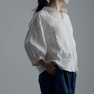 wafu   linen tunic / blouse / short sleeve / shirts / white / a73-9