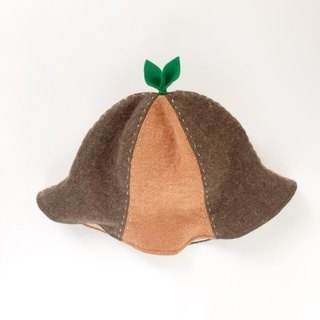 That is enormous! Linen wool leaf hat Orange and soil