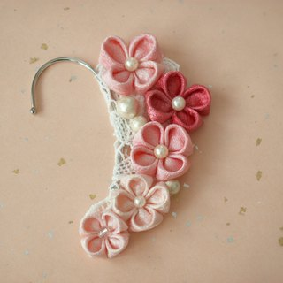 【New】 Earhook / Pink made with knob wrapping old cloth