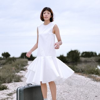 Mani Mina White Mini Dress Frill Skirt.