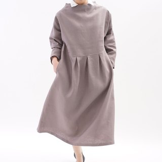 Belgium linen bottleneck drop shoulder dress / Vaniyu a13-46