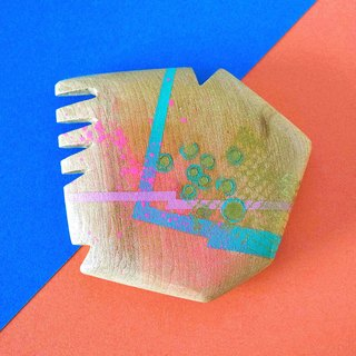 Abstract Vanity Hand Mirror (pink and pastel blue)