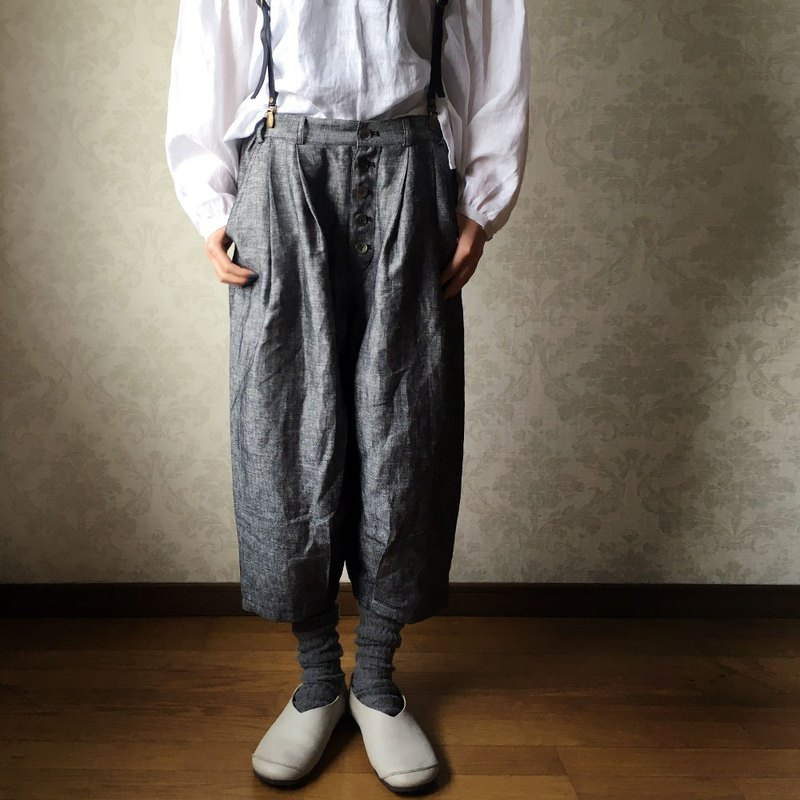 [1 week limited sale] 3 colors available Herringbone linen 100percent button-out loose pants lining rm-43