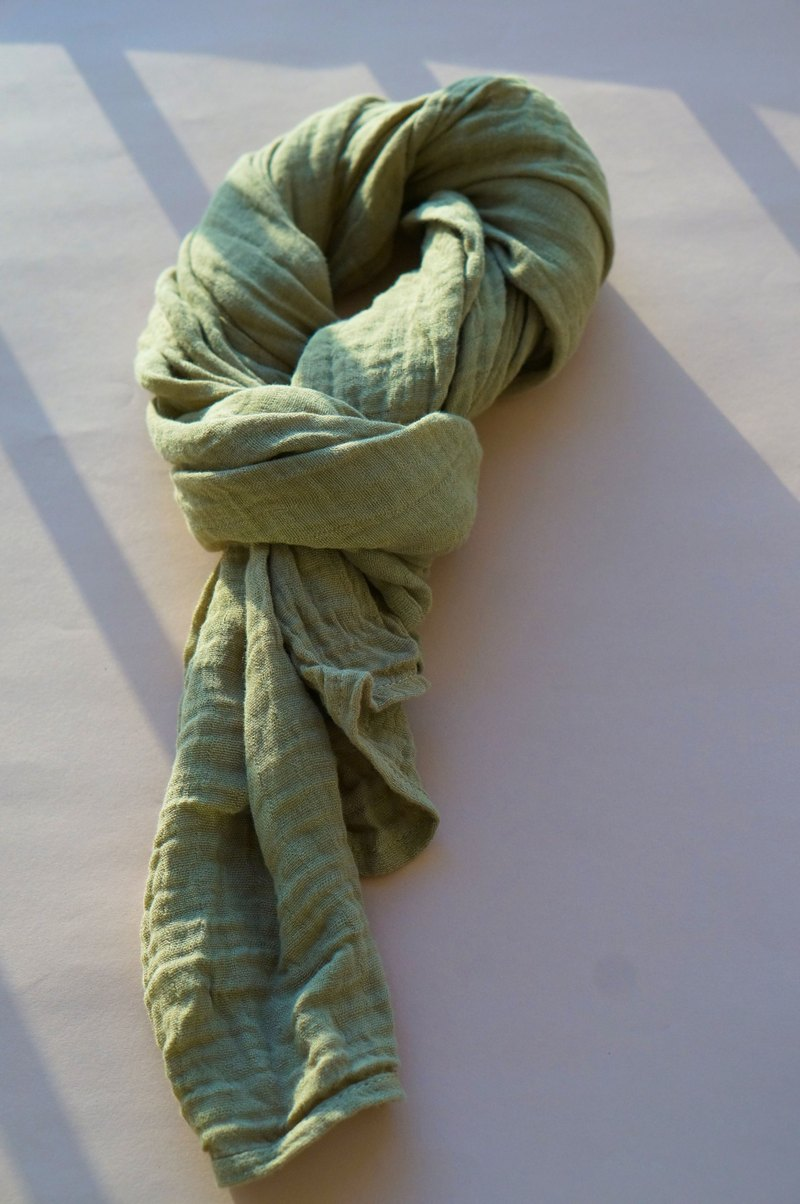 Collagen scarf with 100%natural dyed-(deep green)