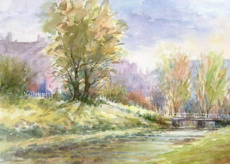 Watercolor painting Autumn sunshine