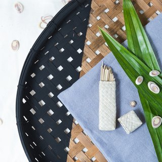 woven pandan leaf case with llemongrass toothpick