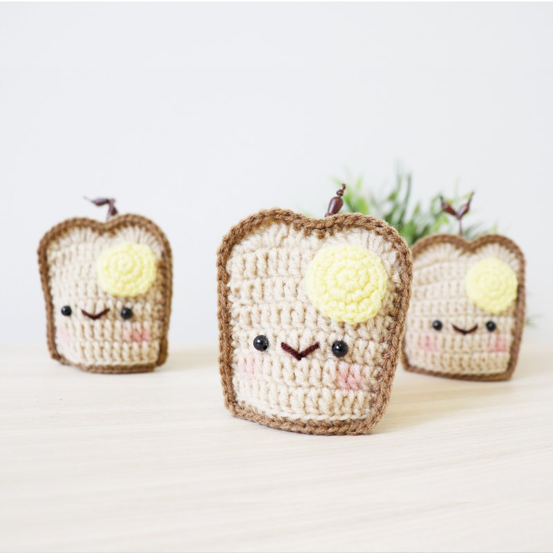 Knitted key cover - Bread With Egg Spread