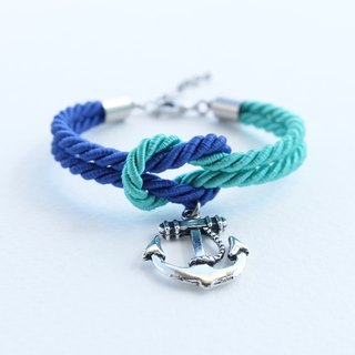 Blue/mint knot rope bracelet with anchor charm
