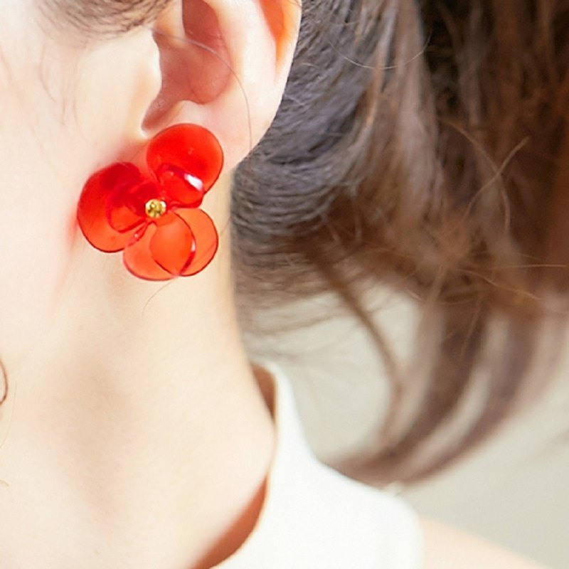Crystal Flower || Earrings || Red