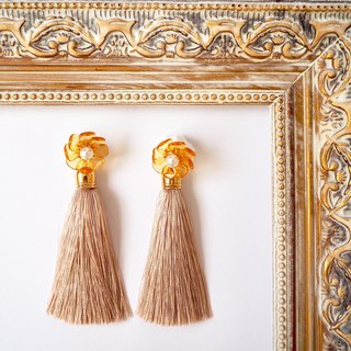 Topaz color flower and tassel earrings