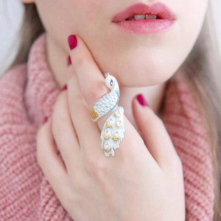 White Peafowl Peacock Ring