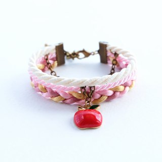Apple layered bracelet in matte cream / light pink / gold / dusty rose