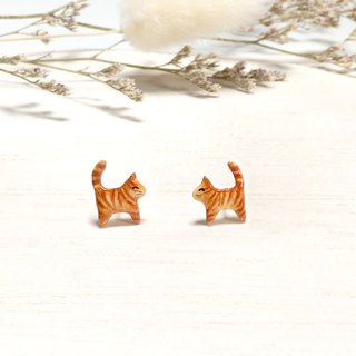 Tiny Brown Cat Earrings, Cat Stud Earrings, orange cat earrings, cat lover gifts