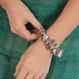 Handmade Silver Bracelet with hollow irregular nugget beads (B0040)